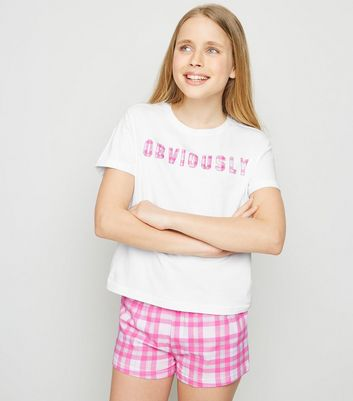 Girls White Check Obviously Slogan Pyjama Set