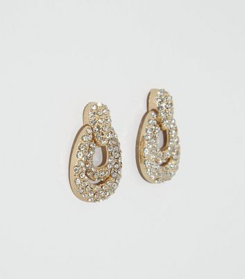 Gold Premium Diamanté Door Knocker Earrings