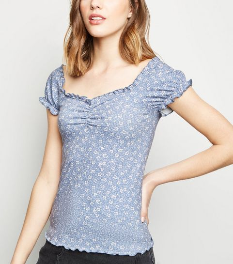 ... Blue Ditsy Floral Frill Trim T-Shirt ... dfba5c93c