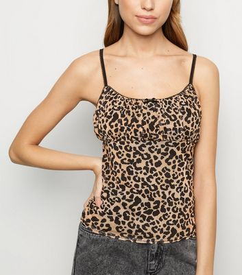 Brown Leopard Print Mesh Ruched Cami