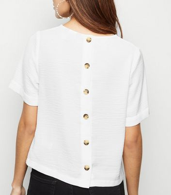 White Button Back Boxy T-Shirt
