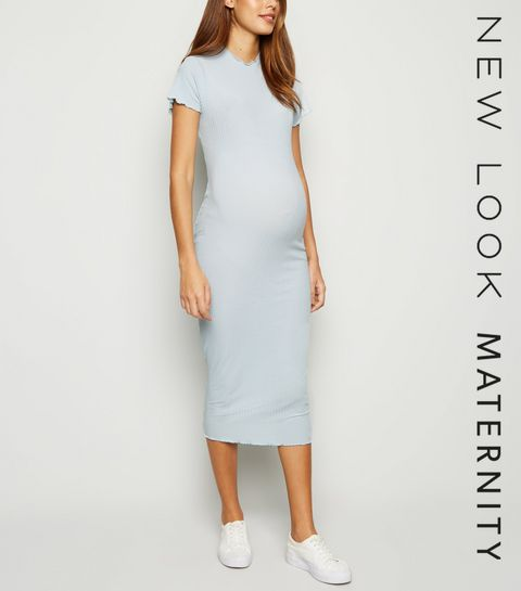 067abb9dd4 ... Maternity Pale Blue Ribbed Frill Trim Midi Dress ...