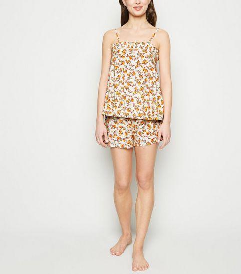 c6920f4cc23ad ... Ensemble de pyjama blanc cassé à imprimé floral froncé en jersey ...