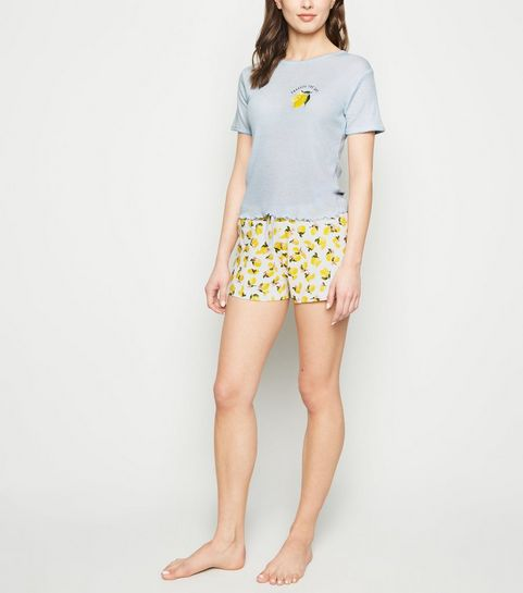 6122ec5a3fbb ... Pale Blue Lemon Slogan Jersey Pyjama Set ...