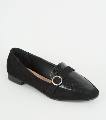 Wide Fit Black Faux Snake Ring Strap Loafers