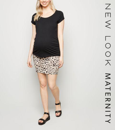 f89b265676 ... Maternity Brown Leopard Print Tube Skirt ...