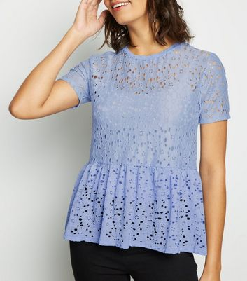 Pale Blue Lace Peplum T-Shirt
