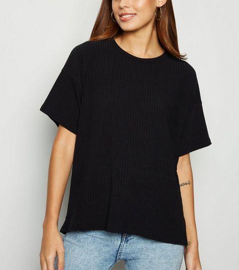b61323b6883166 ... Black Ribbed Boxy T-Shirt ...