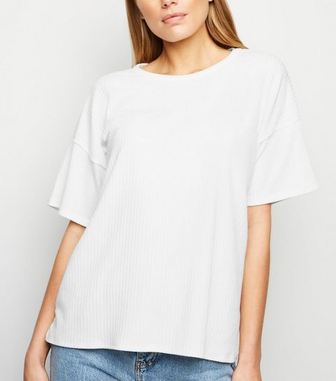 a0e8b9b33c9eb ... White Ribbed Boxy T-Shirt ...