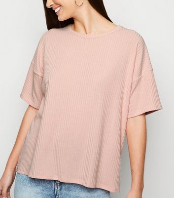 Pink Ribbed Boxy T-Shirt