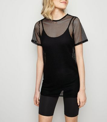 Black Fishnet Longline T-Shirt