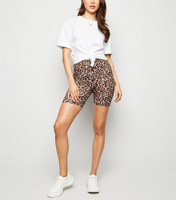 Brown Leopard Print Cycling Shorts