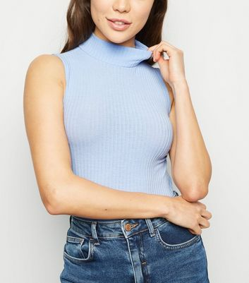 Pale Blue Rib Turtleneck Bodysuit