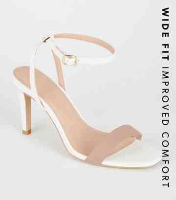 Wide Fit White Mixed Square Toe Stilettos