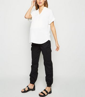 Maternity Black Over Bump Utility Denim Joggers