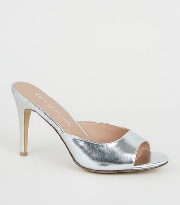 Silver Open Toe Stiletto Mules