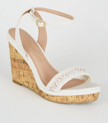 Wide Fit Off White Crochet Strap Cork Wedges