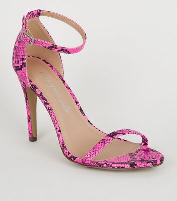 Pink Neon Faux Snake Barely There Stilettos
