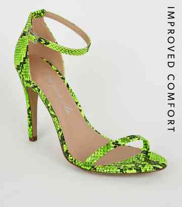 Yellow Neon Faux Snake Barely There Stilettos