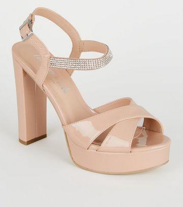 Nude Patent Diamanté Strap Platform Heels