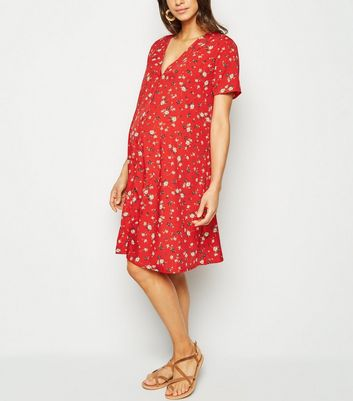 Maternity Red Floral Button Up Dress