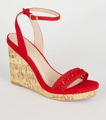 Wide Fit Red Crochet Strap Cork Wedges