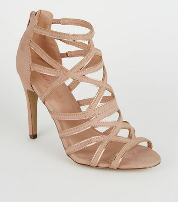 Nude Metallic Trim Cut Out Stiletto Heels
