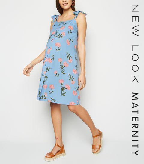 a080e2d90887 ... Maternity Pale Blue Floral Button Up Dress ...