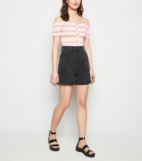 9f22204321 ... Black Vintage Wash Longline Mom Shorts ...