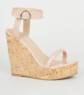Nude Patent Tube Strap Cork Wedges