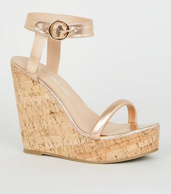 Rose Gold Tube Strap Cork Wedges