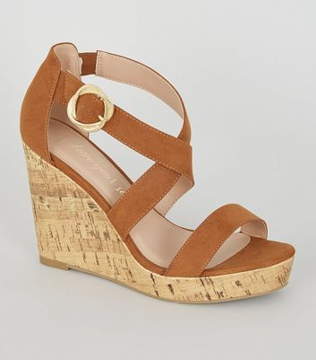 Wide Fit Tan Suedette Strappy Cork Wedges
