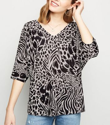 Black Mixed Animal Print Lattice Back T-Shirt