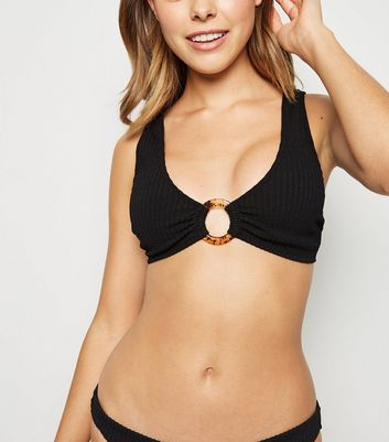 Black Crinkle Ring Crop Bikini Top