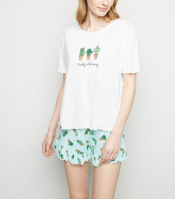 White Cactus Slogan Frill Trim Pyjama Set