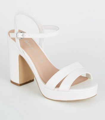 Wide Fit White Platform Block Heels