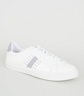 White Leather-Look Stripe Lace Up Trainers