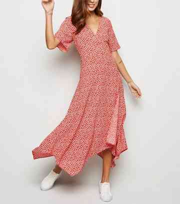 Red Ditsy Floral Hanky Hem Midi Wrap Dress