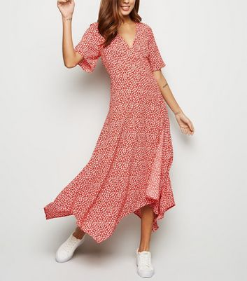 Red Ditsy Floral Hanky Hem Wrap Midi Dress by New Look