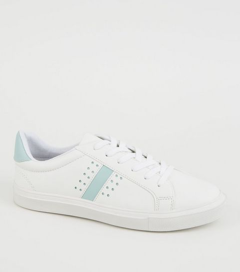 84ad1882b66b3 ... White Leather-Look Perforated Lace Up Trainers ...