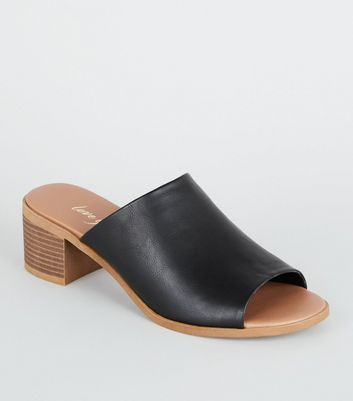 Black Leather-Look Wood Heel Mules