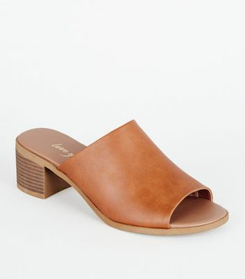 Tan Leather-Look Wood Heel Mules