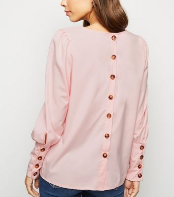 Urban Bliss Pale Pink Button Back Blouse
