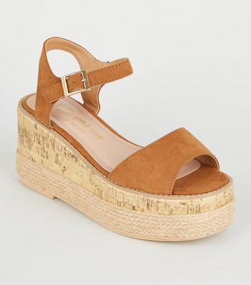 Tan Suedette Woven Cork Effect Flatforms
