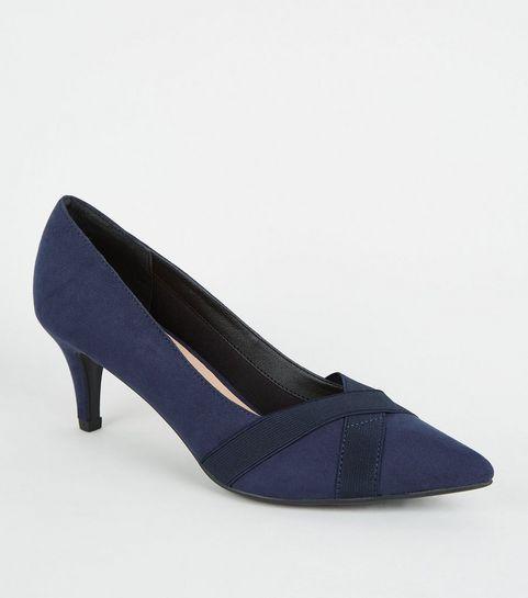 06ff7870dc4a24 ... Comfort Flex - Chaussures en suédine bleu marine à petits talons ...