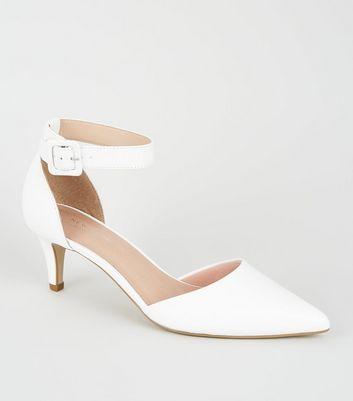 White Comfort Flex Pointed Kitten Heels