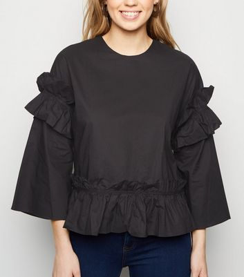 Urban Bliss Black Ruffle Peplum Blouse
