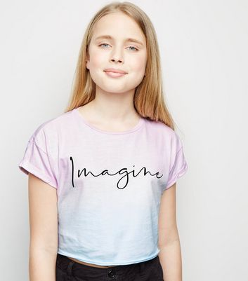 Girls Pink Tie Dye Imagine Slogan T-Shirt