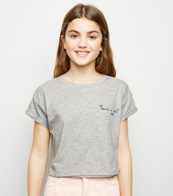 "Girls – Graues T-Shirt mit ""Thank You Next""-Aufschrift"