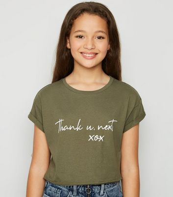 "Girls – Khakifarbenes T-Shirt mit ""Thank You Next""-Aufschrift"